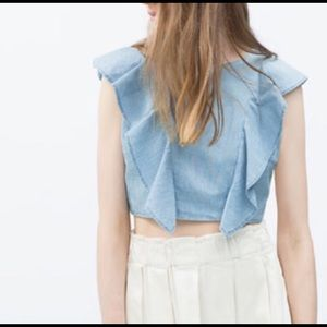 NWT { Zara } Denim Ruffle Crop Top